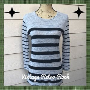 Madewell Linen Tee in Mixed Stripe Gray Black